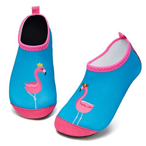 Kinder Badeschuhe Wasserschuhe Strandschuhe Mädchen Junge Schwimmschuhe Barfußschuhe rutschfeste Surfschuhe Sportschuhe Kleinkind Schwimmbad(Flamingo rosa,32 EU 33 EU)