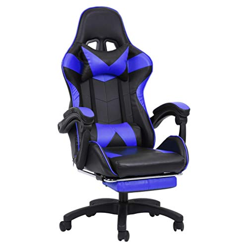 Gaming Chair Office Chair Desk PC Gaming Computer with Footrest Speaker Ergonomic Design with Cushion and Reclining Back Support Seat Height Adjustment Recliner for Kids Adult (Blue)