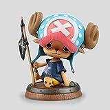 One Piece/Rey náutico Modelo de mini personaje de madera Sentado posición Qiao Ba Estatua Regalo Souvenir Artesanía Regalo de vacaciones Decoración (10CM) (Color : Blue)
