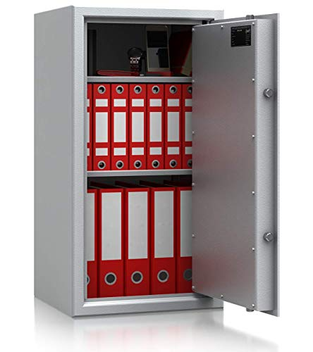 SafeHero Aktentresor S1 EN 11450 Secureo Condor Light 1 | H806xB426xT380 mm | 58 kg | Elektronikschloss | Platz für 10 DIN A4-Ordner | umlaufender Feuerfalz