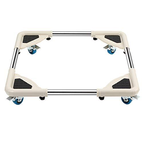 PILITO Mobile Roller with 4 Locking Wheels Round Corner Adjustable Furniture Dolly Washing Machine Stand Refrigerator Base Moving Cart