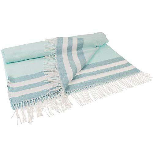 GANT Home Decke Überwurf Tone Stripe Throw 130x180 cm, Farbe:Türkis(450)