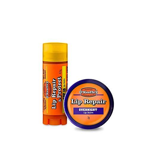 O'Keeffe's Lip Repair Lippenbalsam, LSF 15, 4,2 g und Lippenreparatur über Nacht, 7 g, Doppelpack