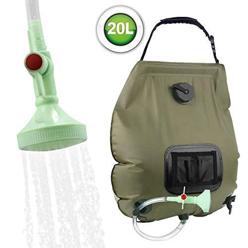 ZTKBG Solardouchestas 5 gallonen/20 l verwarmde campingdouchestas met afneembare slang en schakelbare douchekop voor camping, strand zwemmen, reizen, wandelen