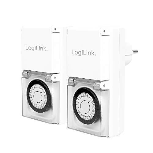 LogiLink Mechanische Zeitschaltuhr, 2er Set, IP44, Outdoor, Weiß, ET0006A