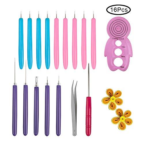 YuCool 16-teiliges Quilling-Werkzeug-Set, für handgefertigte Papierspiralen, Quilling-Stift mit Schlitz, für Kunsthandwerk, zum Basteln, Kartenherstellung, Dekoration, Werkzeug-Set