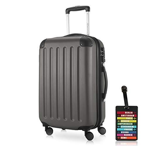 Hauptstadtkoffer - Spree Handgepäck Kabinentrolley Bordgepäck Hartschalen-Koffer, sehr leicht, TSA, 55 cm, 42L, Graphit inkl. Design Kofferanhänger