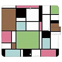Xperia 1 III A101SO ケース [デザイン:4.茶×緑×ピンク/マグネットハンドあり] カラーブロック xperia1iii エクスペリア1 マーク3 a101so 手帳型 スマホケース スマホカバー 手帳 携帯 カバー