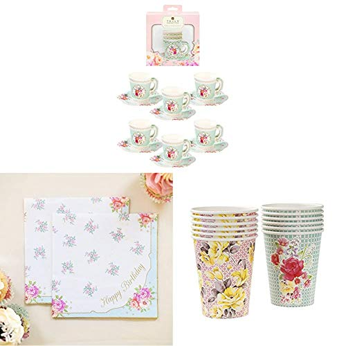 Talking Tables Truly Scrumptious Afternoon Tea Party Cupset and Saucer, Happy Birthday Napkins, Paper Cups