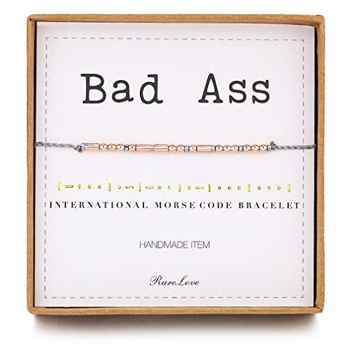 RareLove Bad Ass Morse Code Bracelets Inspirational Friendship Gift For Women Girls Rose Golden Beads Grey String Bracelet