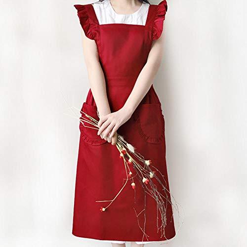 Schürze Polyester Baumwolle Rüschen Schürze Blumenladen Kellnerin Café Konditor Arbeitskleidung Blumenladen-4