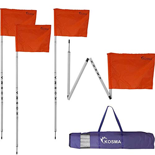 Kosma Set mit 4 faltbaren Eckflaggen | Faltbare Fußball-Trainingsecke – Größe: 152 cm x 25 mm – weißer Stock mit Metallspieß und orangefarbener Flagge – in Tragetasche