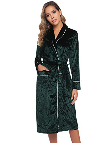 Hawiton dames badjas ochtendjas klassieke saunamantel met knoopriem zakken en reverskraag