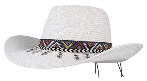 Mützen Unisex Cowboy Herren Damen Jungen Strohhut Sunscreen Chic Strandhut Vintage Fashion Westernhut Sonnenhut Hut Caps (Color : Weiß, Size : One Size)
