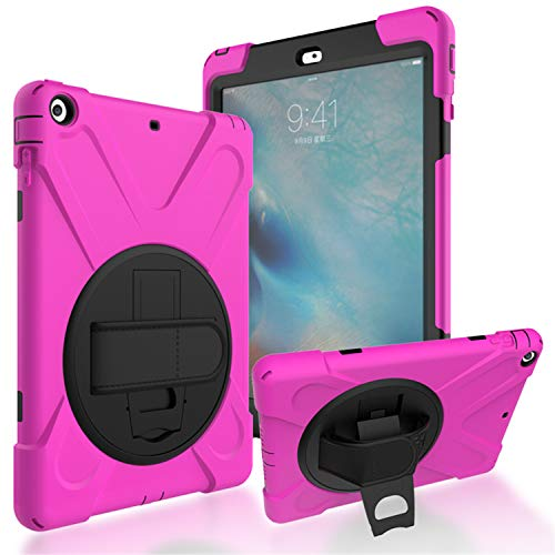 JZ 360 Degrees Kickstand Case Cover Compatible with iPad 2/3/4 Stand Case with Wrist Strap and Shoulder Strap - Hot Pink
