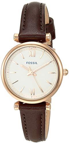 Fossil Women's Carlie Mini Quartz Leather Casual Watch, Color: Rose Gold, Brown (Model: ES4472)