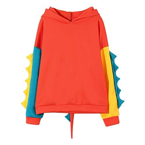 Andouy Dinosaurier Sweatshirt für Frauen Cosplay Anime Hase Karikatur Hoodie Mädchen Pullover(XL.Orange-1)