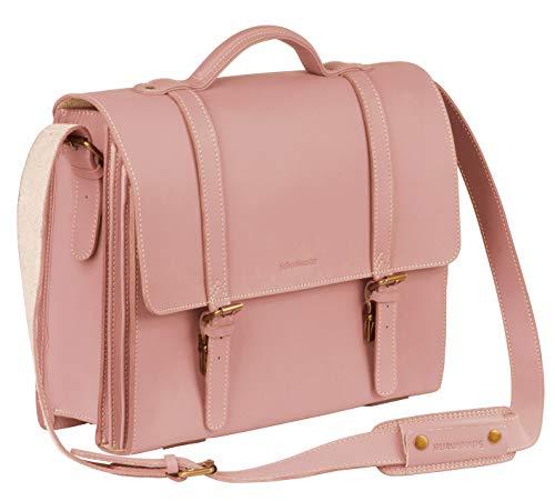 Schoolmaster modern Classic - Rose, Moderne Lehrertasche & Aktentasche aus echtem Leder,...