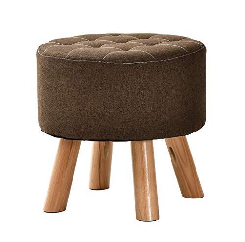 Poufs et repose-pieds Tabourets à pied rond rembourrés Ottoman Pouffe Chair Change Tabourets à revêtement en lin amovible et bois massif 4 pieds (Couleur : Brown)
