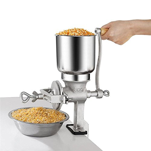 Manual Grain Corn Coffee Wheat Nuts Grinder, Portable Table Clamp Mill Maker with Wooden Handle Home Use,Cast Iron Grinding Miller
