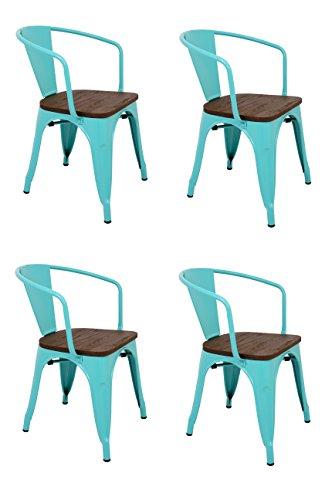 La Silla Española - Pack 4 Sillas estilo Tolix con respaldo, reposabrazos y asiento acabado en madera. Color Turquesa. Medidas 73x53,5x52