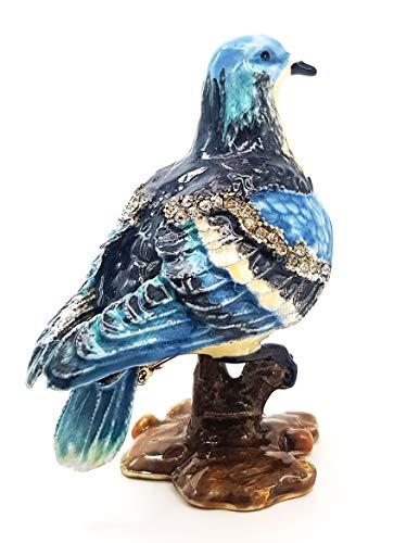 Taube Blau Geschenk Deko Figur Schmuckschatulle Schmuckkästchen Sammlerstück Strass Deko Box Schmuckdose Schmuckdöschen Dose Pillenbox Jewelry Box