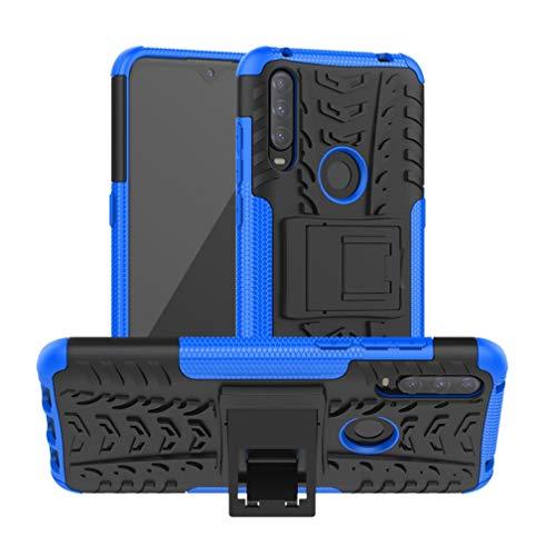 HAOTIAN Funda para Alcatel 1S 2020 Funda, Carcasa [Tough Armor Series] Robusta Armadura Híbrida TPU/PC, Protector Interno TPU a Prueba de Golpes + Soporte Plegable. Azul