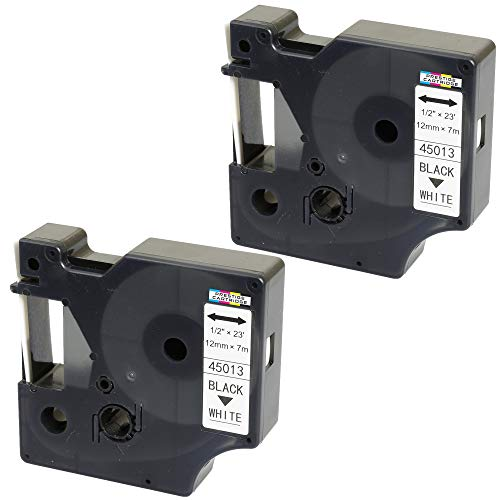2X Schriftband-Kassetten D1 45013 S0720530 schwarz auf weiß 12mm x 7m kompatibel für DYMO LabelManager LM 160 210D 220P 260P 280 360D 420P 450D 500TS PnP MobileLabeler LabelPoint LabelWriter 450 Duo