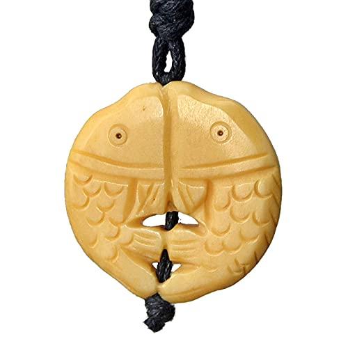 Revilium Yak Bone Fish Jewelry Hawaii Colgante Mujeres Collar Vintage Amarillo Piscis Collar Joyería Hecha A Mano