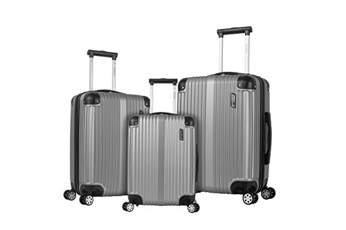 Rockland Berlin Hardside Expandable Spinner Wheel Luggage Set, Silver