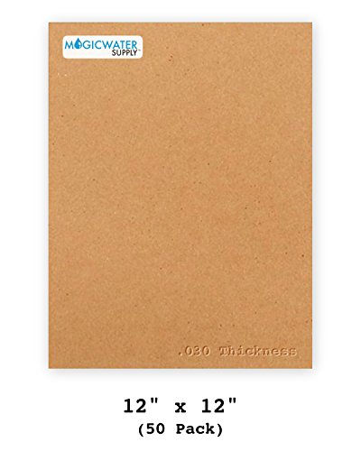 50 Chipboard Sheets 12 x 12 inch - 30pt (Point) Brown Kraft Cardboard for Scrapbooking & Picture Frame Backing (.030 Caliper Thick) Paper Board | MagicWater Supply