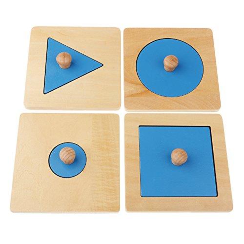 MagiDeal 1 Set Montessori Géométrie Jouet en Bois - Jeu Educatif Jouet d'apprentissage Précoce pour Enfant Bébé ( Rond + Triangle + Carré )