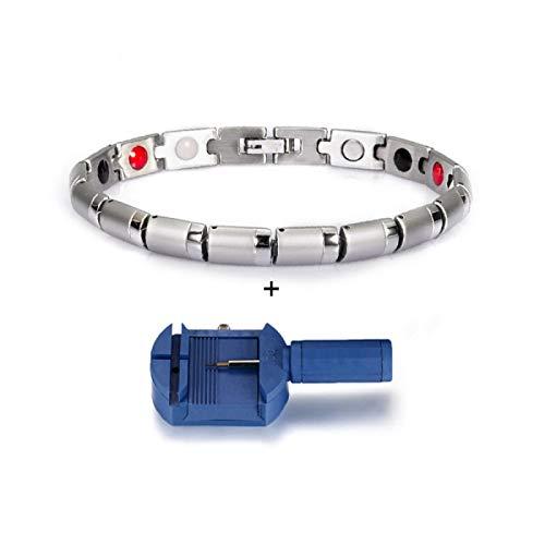 JPDP Bracciale magnetico in acciaio inossidabile per amicizia da donna Bracciale color argento con catena portacavi in germanio per sgabello sanitario