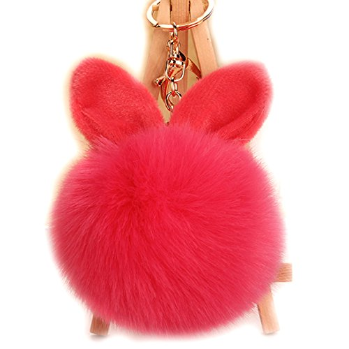 URSFUR Schlüsselanhänger aus Kunstfell Kaninchen Fellbommel Bommel Geburtstagsgeschenk Taschenanhänger (WRot)