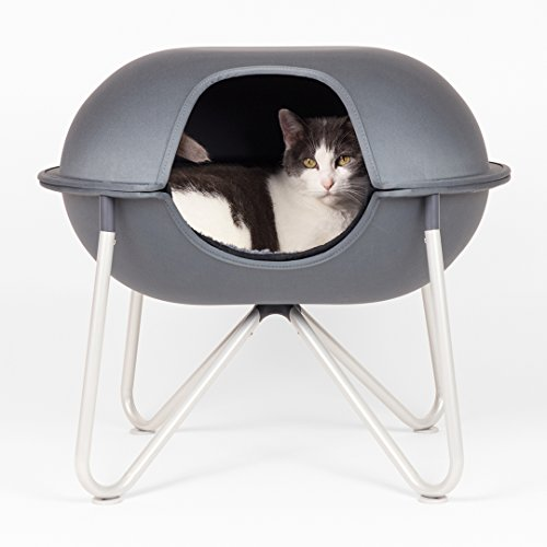 Hepper - Pod Cat Bed - Modern Designer Cat House, Nest, Perch & Cave - Washable Sherpa Lining - Herringbone