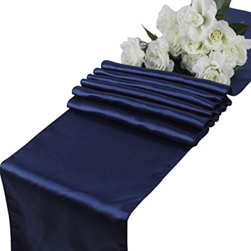 mds Pack of 10 Wedding 12 x 108 inch Satin Table Runner for Wedding Banquet Decoration- Navy Blue