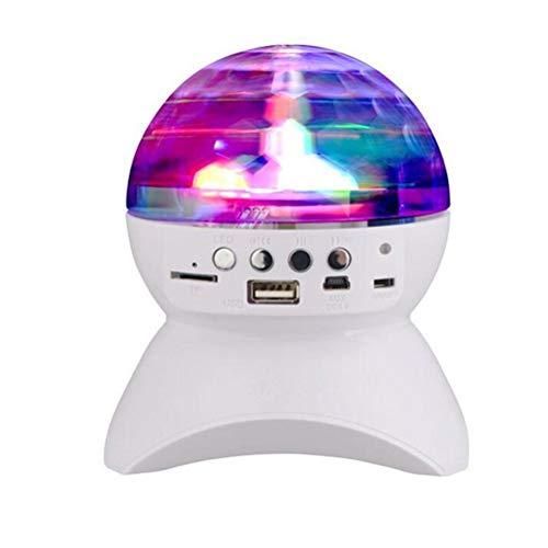 Artibetter Mini altavoces para discoteca DJ de luz que giran altavoz inalámbrico con luz de bola LED (blanco)