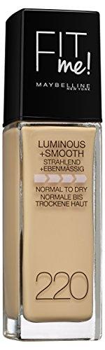 Maybelline New York Fit Me! Make-Up Natur 220 / Schminke in einem natürlichen Hautfarben-Ton für eine langanhaltende Abdeckung mit hohem Tragekomfort 1 x 30 ml