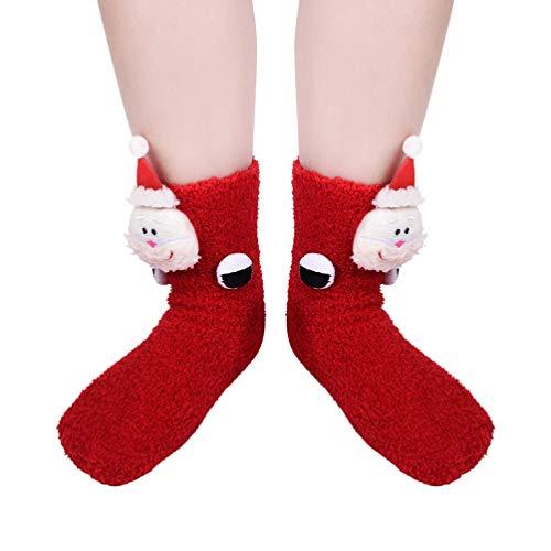 VBIGER Calcetines de Navidad para Hombres y Mujeres Invierno Calcetines de Piso Vellón de Coral Abrigados