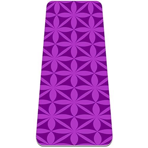 Esterilla de yoga extra gruesa, duradera, respetuosa con el medio ambiente, antideslizante para ejercicio descalzo y gimnasio de primera calidad para el hogar, gimnasio, alfombra abstracta púrpura
