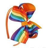 Cerchietto - per capelli - fiocco - colorato - bambina - colore arancione - multicolore - arcobaleno - idea regalo