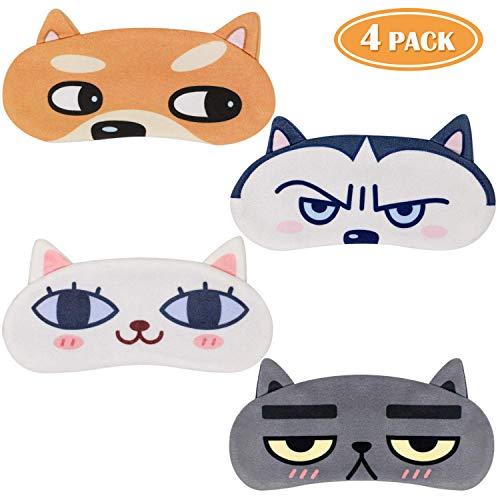 Tacobear 4 stuks. Slaapmasker grappig oogmasker schattige slaapbril met 3D oor kat hond oogstrip oogbescherming voor vrouwen kinderen trein bus vliegtuig reizen kantoor