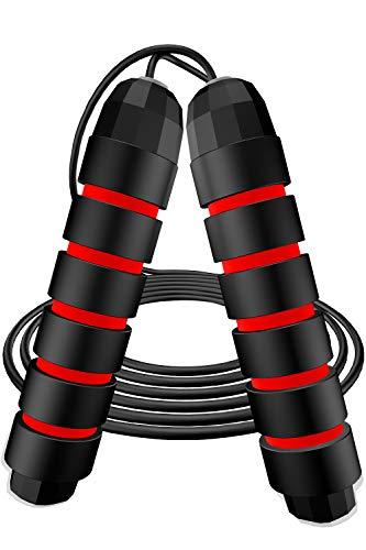 Awroutdoor Cuerda para Saltar, 2.8M Ajustable Cuerda Saltarde Velocidad con Mango de Espuma de Suave Fitness Boxeo,y Quema Grasa,Gym-Negro+Rojo