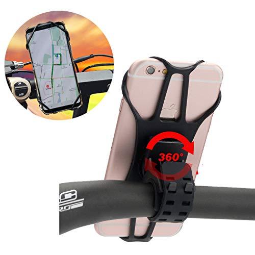 """JFUNE Soporte Movil Bicicleta de Silicona, Desmontable Universal Manillar Soporte para Bicicleta de Montaña y Motocicleta Rotación de 360° Soporte para iPhone Samsung Huawei Xiaomi y 4.0""""-6.0"""" Phones"""