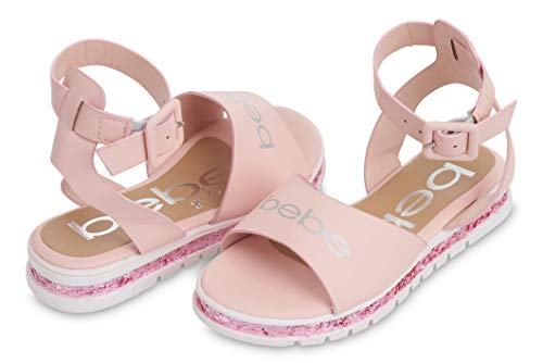 bebe Girls Big Kid Flatform Sandal with Chunky Glitter Sole and Ankle Strap Open Toe Fashion Summer Bling Shoes