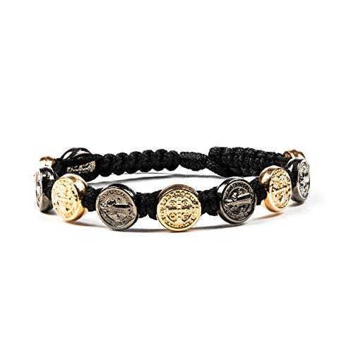 Benedictine Blessing Bracelet - Jet and Rose Gold Medals/Black Cording