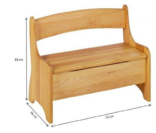 BioKinder 24785 Levin Kindersitzbank Sitzbank Truhenbank für Kinder aus Massivholz Erle und Kiefer 70 x 36 x 55 cm Flieder lasiert - 4