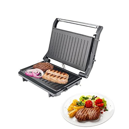 Cakunmik Máquina del Filete de la máquina de sándwich de 750W Máquina de la Parrilla pequeña, Bandeja para Hornear de Barbacoa sin Aceite de Dos Caras para Cualquier Tipo o tamaño de Alimentos 110V