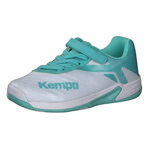 Kempa Unisex-Kinder Wing 2.0 JUNIOR Handballschuhe, Mehrfarbig (Weiß/Türkis 05), 36 EU