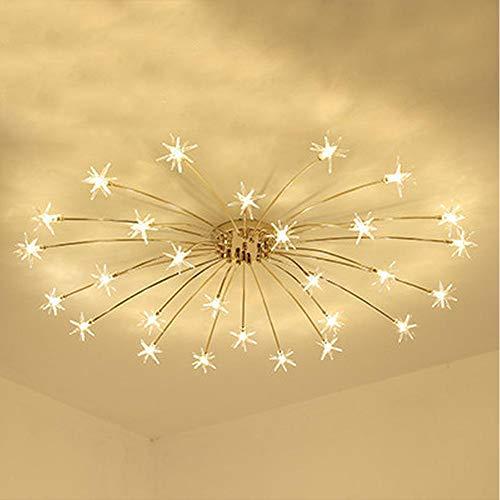 HOMECR LED Decke Licht Eisblume Glaswand Lichtdecke Schlafzimmer Küche Kinderzimmer Decke Lampe Gypsophila Kronleuchter Leuchten Gold (warm Light)- 28 Lights